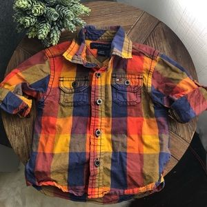 Fall button down shirt 6-9 month Tommy Hilfiger